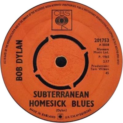 Label of the original 45 rpm single version of Bob Dylan's Subterranean Homesick Blues (1965)