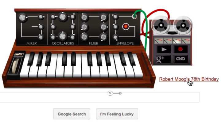 Google's home page featured a working emulation of a Moog synthesizer on May 23 2012.